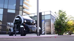 Renault Twizy Electric Car In Milan, Italy Stock Footage