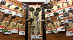 Motion of display shower head at Home Depot store Stock Footage