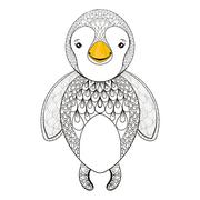 Vector pinguin for adult coloring page. Hand drawn cute pinguin Stock Illustration