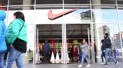 Milan business center of the city Shopping Nike - Piazza Gae Aulenti Stock Footage