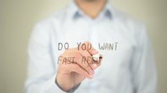Do You Want Fast Results, Man writing on transparent screen Stock Footage