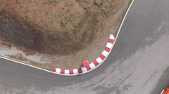 Aerial view of go kart outdoor race Stock Footage