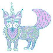 Vector zentangle magic color cat unicorn, black print for adult - stock illustration