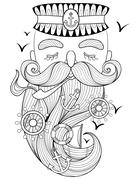 Vector zentangle old sailor smoking a pipe, captain, fisherman - stock illustration