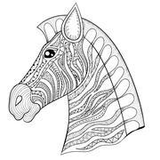 Vector zentangle Zebra Head illustration, Horse print for adult - stock illustration