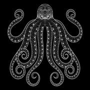 Vector zentangle octopus print for adult coloring page. Hand dra - stock illustration