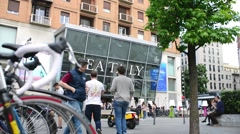 Milan business center city - Eataly shop - Bicycles and pedestrians Stock Footage