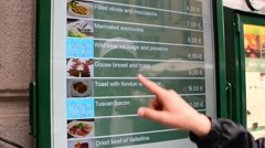 Milan business center city - electronic touchpad menu on the restaurant's wall Stock Footage