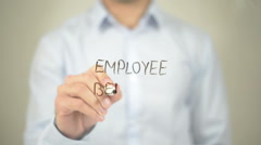Employee Benefit, Man writing on transparent screen Stock Footage