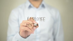 Employee Motivation, Man writing on transparent screen - stock footage