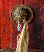 Door gate handle of Thiksey gompa Tibetan Buddhist monastery Stock Photos