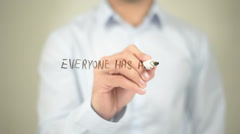 Everyone Has a Story, Man writing on transparent screen Stock Footage