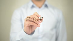 Excellence, Man writing on transparent screen Stock Footage