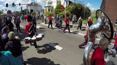 Flower Parade  Marching orchestra - Netherlands - stock footage