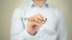 Express Yourself, Man writing on transparent screen Stock Footage