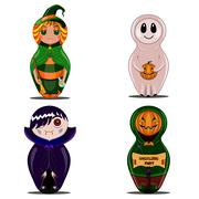 Halloween set with witch dolls, vampire, pumpkin and ghost - stock illustration