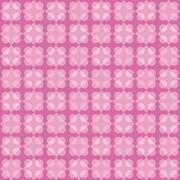 Geometric fun pattern with pink and violet circular and rhomboid shapes - stock illustration
