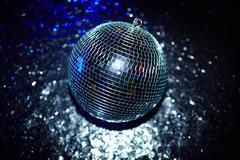 Disco ball on the floor of night club Stock Photos
