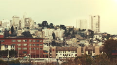 Hilltop view of San Francisco from Fisherman's Wharf Stock Footage