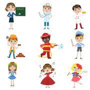 Children Future Profession Set - stock illustration