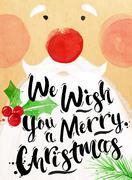 Poster watercolor Santa - stock illustration
