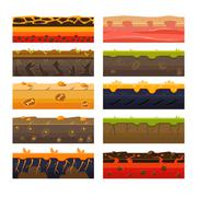 Different Ground Platformer Level Floor Design Set Stock Illustration