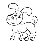 Cartoon smiling puppy, naughty dog, coloring book Stock Illustration
