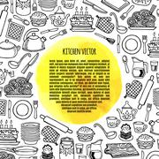 Kitchen utensils and appliance banner vector. - stock illustration