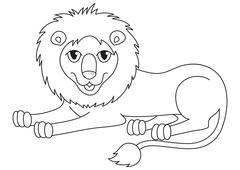 Amusing cartoon lion regally lying, coloring book page - stock illustration