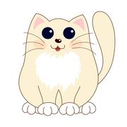 Cartoon smiling gentle beige kitty with ginger stripes sit - stock illustration