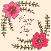 Happy day. Vintage colorful background with ancient flowers like portulaca Stock Illustration