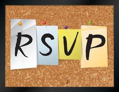 RSVP Bulletin Board Theme Illustration - stock illustration