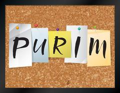 Purim Bulletin Board Theme Illustration - stock illustration