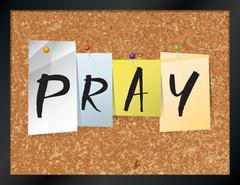 Pray Bulletin Board Theme Illustration - stock illustration