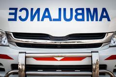 Radiator bonnet of ambulance ( reverse alphabet ) ( vignette style ) - stock photo
