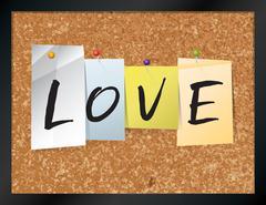 Love Bulletin Board Theme Illustration - stock illustration