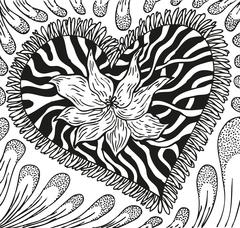 Abstract background of doodling hand drawn patterns, heart with streaks Stock Illustration