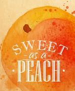 Poster peach - stock illustration