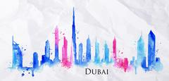 Silhouette watercolor Dubai - stock illustration