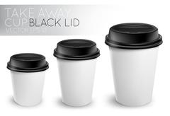Take away paper cup black cap - stock illustration