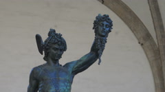 Perseus with the Head of Medusa, zoom wide to tight. Florence, Itlay Stock Footage