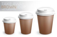 Take away paper cup brown Stock Illustration