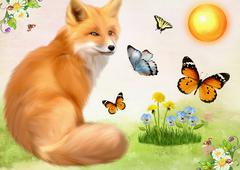 The fox in an environment of butterflies sits on a summer glade. Children's - stock illustration