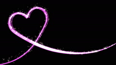 Heart line pinkHeart shaped growing shiny Particle and line - Pink color Stock Footage