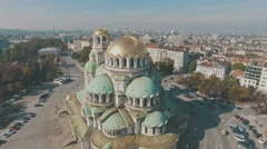 Catherdral aerial panorama 4K Stock Footage