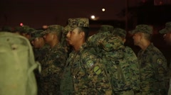 Soldiers in the Armed Forces of Ecuador standing in formation Stock Footage
