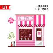 Candy shop in a pink color. Flat design - stock illustration