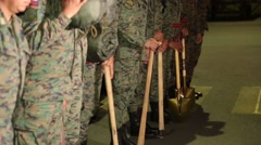 Soldiers in Ecuadorian Armed Forces from the waist down holding shovels (1) Stock Footage