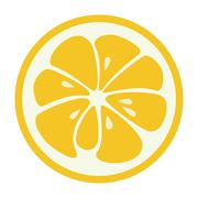 Yellow lemon grapefruit stylish icon. Juicy fruit logo Stock Illustration