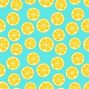 Cute seamless pattern with yellow lemon slices - stock illustration